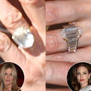 Jennifer Aniston vs. Angelina Jolie: Battle of the Diamond Engagement Rings!   Jennifer Aniston, Angelina Jolie