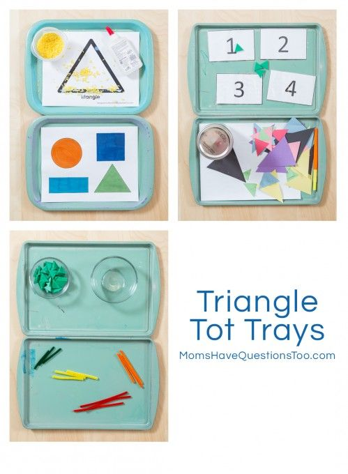 Triangle Tot Trays - Includes trays for gluing, counting, fine motor, pouring, and more! Moms Have Questions Too