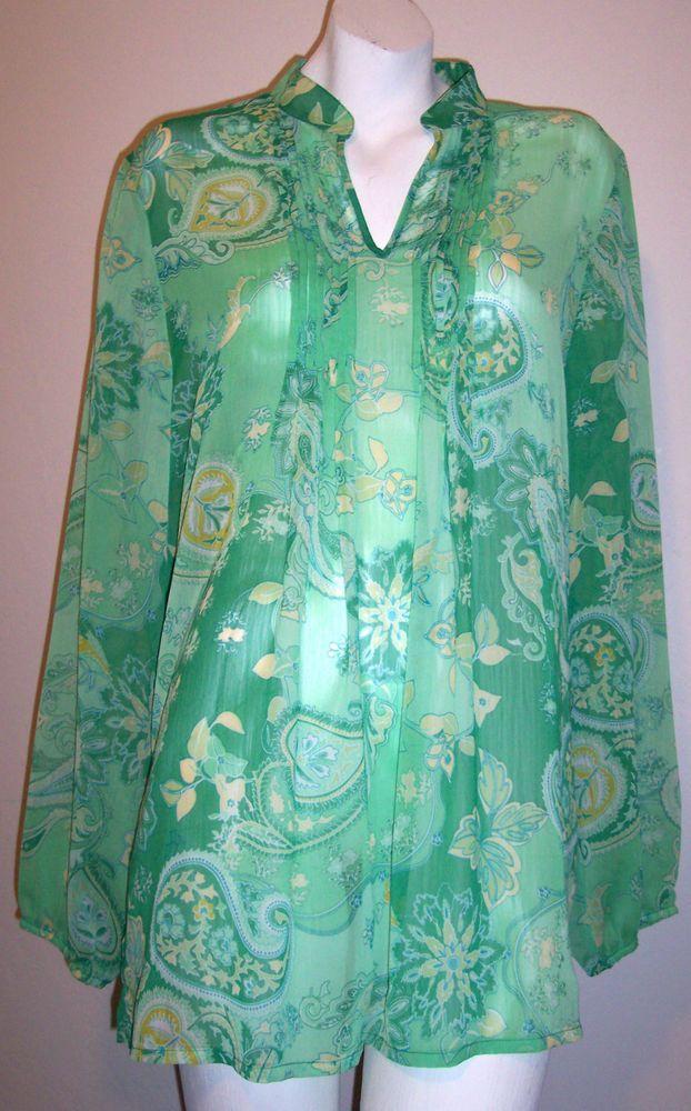 Susan Graver Top M Green Silky Sheer Paisley Boho Long Sleeve Shirt Tunic Blouse #SusanGraver #Blouse #Casual