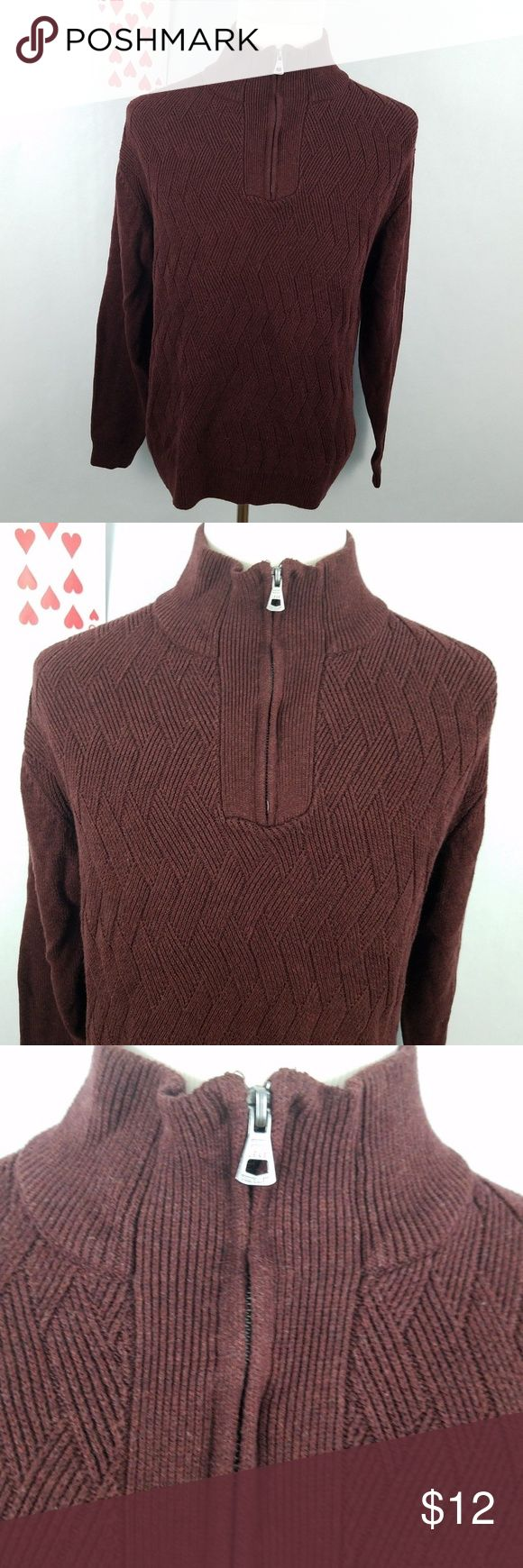 "Weatherproof mens size XL sweater partial zip  brown cable knit  half turtleneck Armpit to armpit - 24"" Length - 28"" Smoke-free home Item bb8 Weatherproof Sweaters Turtleneck"