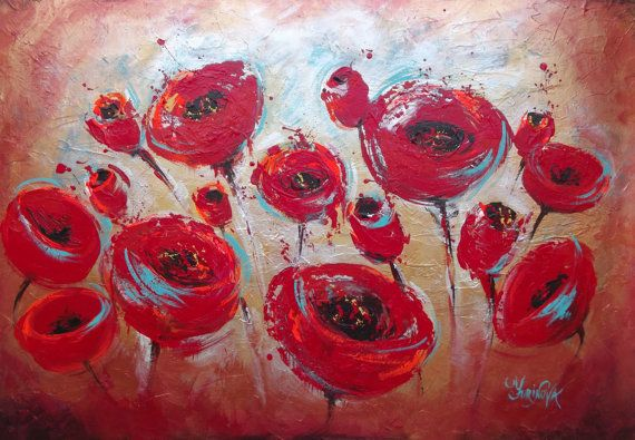 Abstract Floral Painting - Textured Modern Poppies Palette Knife Painting - Ready to Hang - Original Acrylic Painting on Canvas