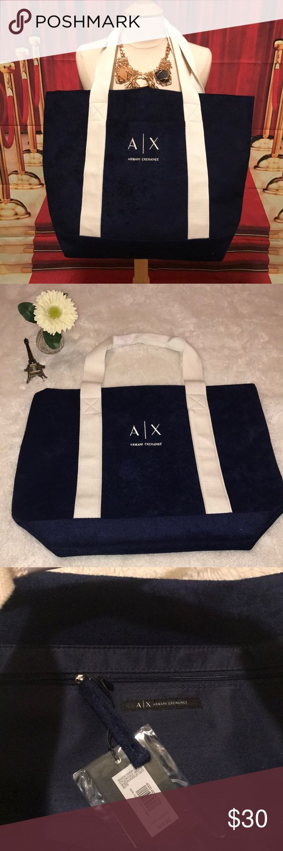 Armani Exchange Tote 👜Bag Brand New Tote Bag  Navy blue with white handles  100% polyester A/X Armani Exchange Bags Totes