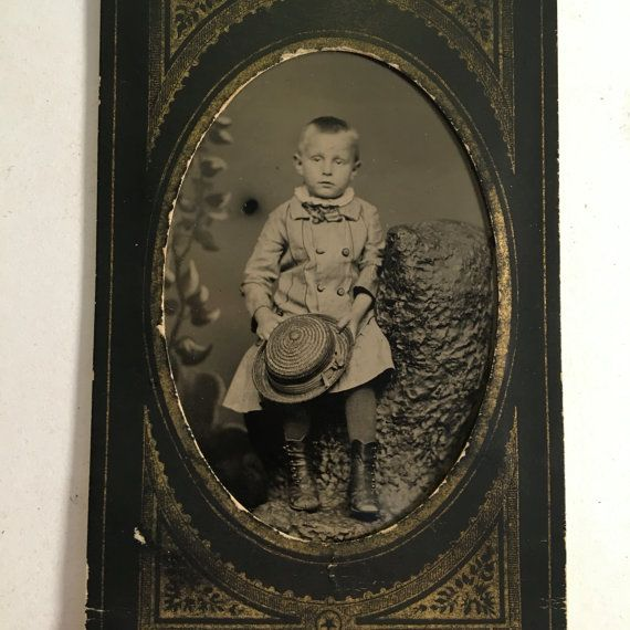 Tintype of a Kid Holding a Boater Hat 19th by BittenbenderAndMoll