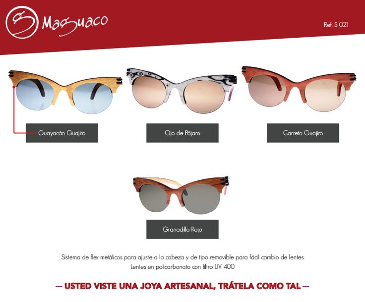 Gafas de sol en madera con filtro UV marca Maguaco S021. $200.000 COP