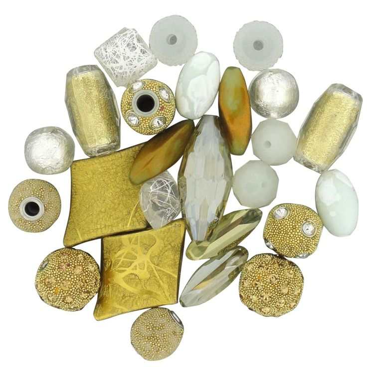 Jesse James Inspirations Beads 50g-White Gold - white gold