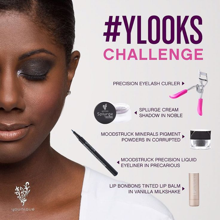 Its the sixth and final #YLooks Challenge and you could win an amazing Younique makeup trunk!  We're giving you five products to work with but you ONLY NEED THREE in your look. So use at least three of these in your look:  Precision Eyelash Curler  Splurge Cream Shadow in Noble  Moodstruck Minerals Pigment Powders in Corrupted  Moodstruck Precision Liquid Eyeliner in Precarious  Lip Bonbons Tinted Lip Balm in Vanilla Milkshake  To enter the contest you must do two things: 1) Upload a photo…