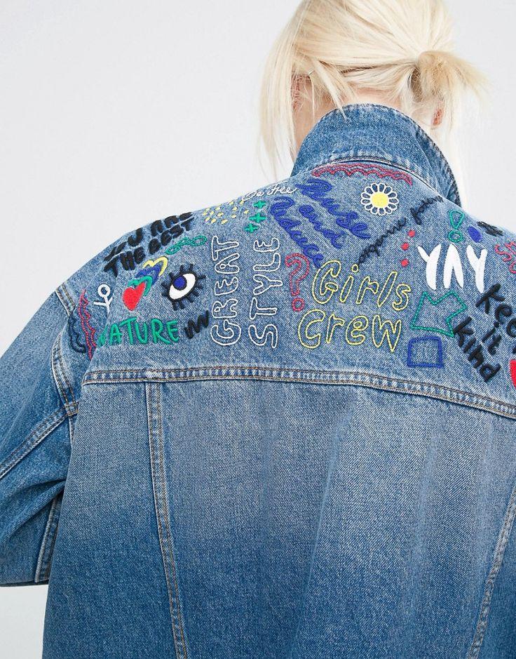 Image 3 ofMonki Embroidered Organic Denim Jacket