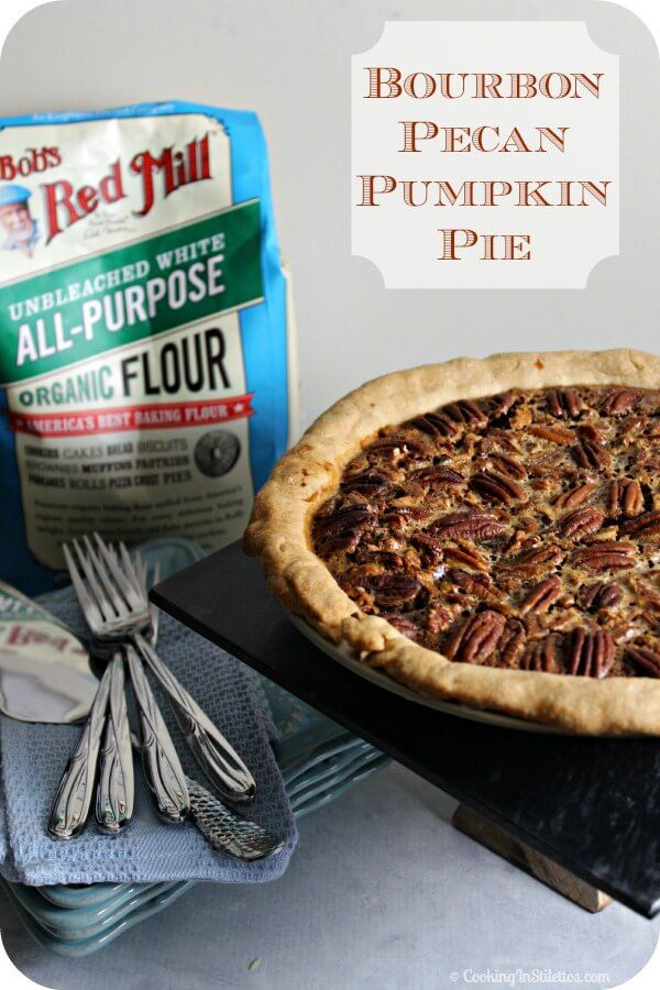 Bourbon Pecan Pumpkin Pie - velvety pumpkin and rich pecan pie nestled ...