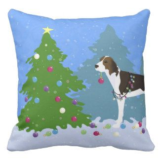 Treeing Walker Coonhound Decorating Christmas Tree Pillow
