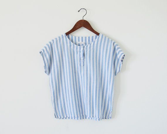 80s stripe top / blue and white / slouchy top by standardedition, $28.00 #vintage