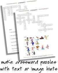 Crossword Puzzle Maker   printable crosswords with images or text hints, crossword puzzles to print for kids