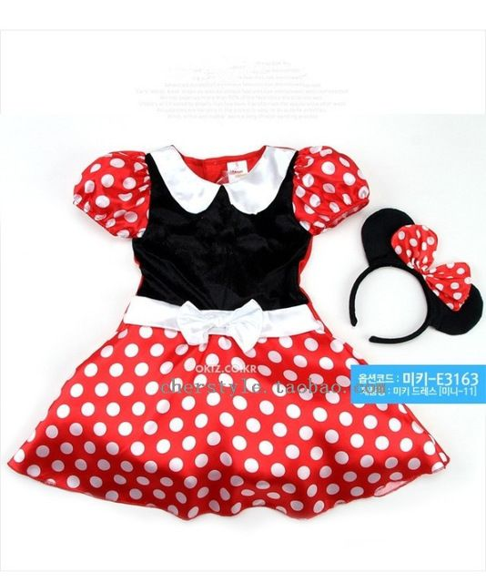 Venta al por menor venta al por mayor Minnie Dress Mini Mouse traje del Ballet del tutú + Ear 2-8Y 80 - 160 cm girls gasa vestido
