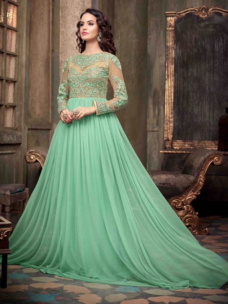 Aqua Green Embroidered Floor Length Anarkali Salwar Suit  #ChuridarKameez #Fashion #Ethnics #Saree #Sari #Lehenga #Suits #Indianwear #Anarkali