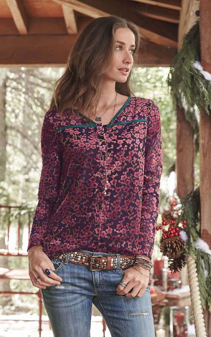 Sakura Blouse - Our enchanting, velvety, button-up blouse showcases a cherry blossom print on burnout fabric.