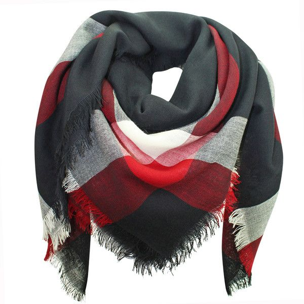 Black White Red Wool Plaid Blanket Scarf ($15) ❤ liked on Polyvore featuring accessories, scarves, heavy, red, wool scarves, blanket scarf, long scarves, wool blanket scarf and red scarves