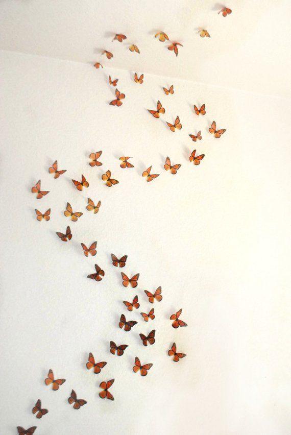 3d Wall Art Realistic Monarch Butterflies Set Of 100 Butterfly