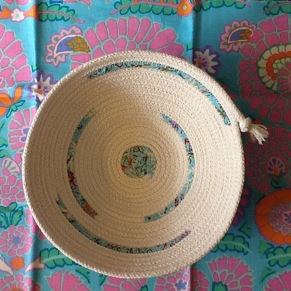 Coiled Rope Bowl with Aqua Fabric Accents Cotton by Clothstitched
