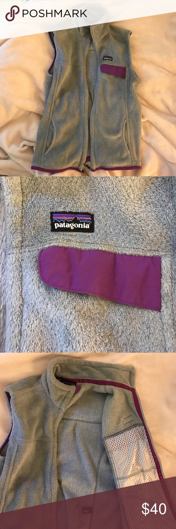 Patagonia Fleece Vest Grey with purple fleece vest. Excellent condition and perfect for a cool day! Patagonia Jackets & Coats Vests