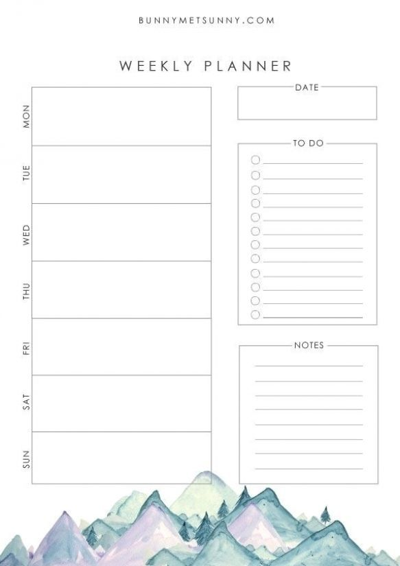 Free Printable Planner Pages Mountain Theme 1 Weekly Planner Template Printable Planner Pages Planner Printables Free