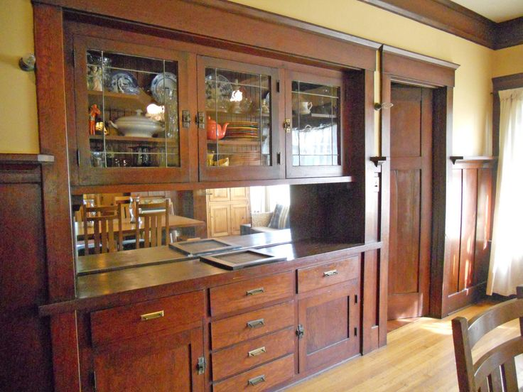 Builtin China hutch with leaded glass and a plate rail