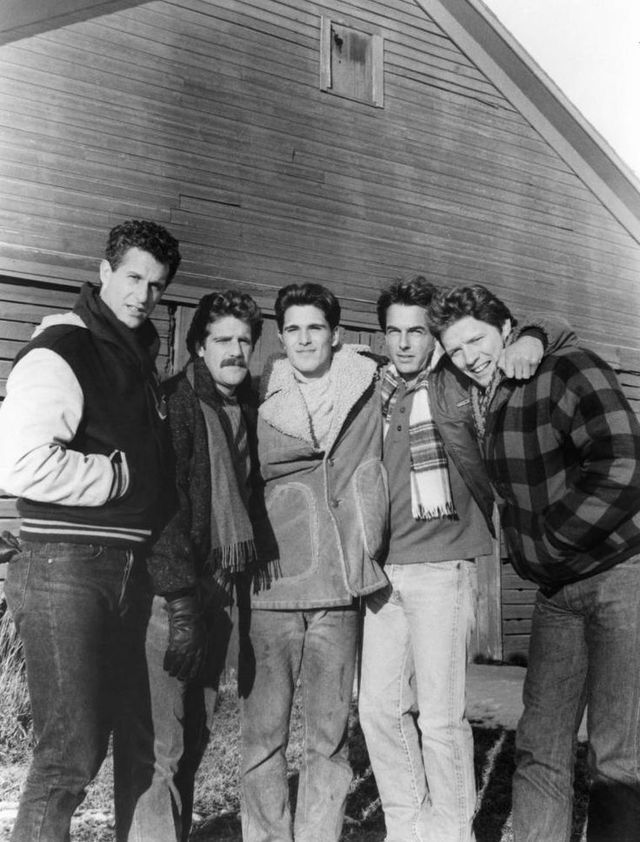 """From the movie """"Let's get Harry"""". 1986 L to R - Rick Rossovich, Glenn Frey, Michael Schoeffling, Mark Harmon and Tom Wilson."""