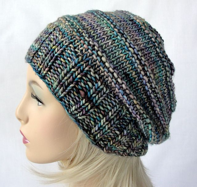 Picket Fence Slouch Beanie pattern by Martha McKeon | malabrigo Mecha in Indiecita