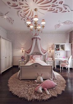 Feminine bedroom interior design for little girl's bedroom