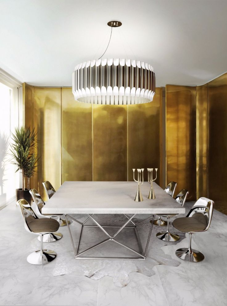 Luxury Dining Room With Golden Features