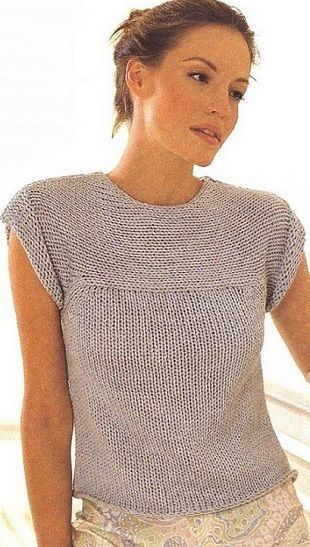 Summer top knitted with large needles More