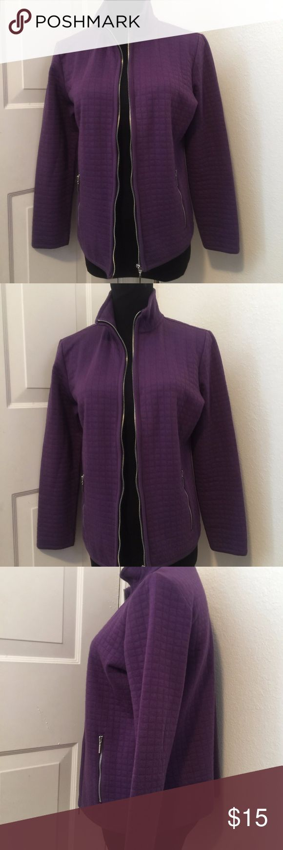 PS Karen Scott Petite Quilted Purple Zip Jacket Karen Scott jacket p/s. In good condition. 52% Cotton 48% polyester. Karen Scott Jackets & Coats Utility Jackets