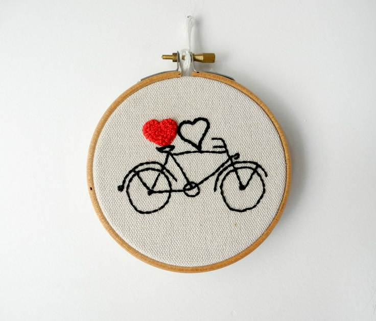"""valentines day gift,bicycle couples gift,heart embroidery hoop wall art,4"""" wedding gift, valentine's gift under 25. , via Etsy."""