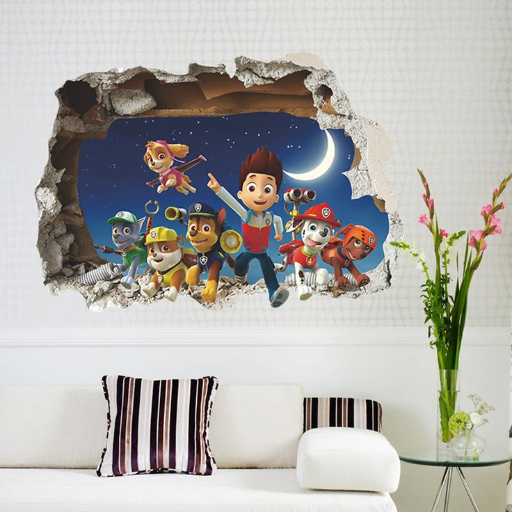 1pc Decorative 3d Paw Patrol Stickers Removable Self Adhesive PVC Wall  Decals Kids Room Baby Part 94