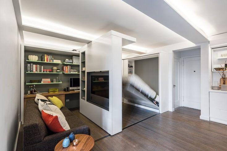 Eltolható TV fallal kialakított többfunkciós tér egy kis 36m2-es lakásban