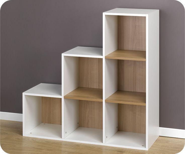 White 6 Cube Kids Toy Games Storage Unit Girls Boys: Estantería Escalera, Modulable De 6 Compartimentos, Blanca