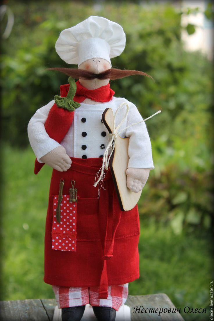 тильда Повар - бордовый, повар,  пекарь, кулинар, для кухни, кукла интерьерная,повар тильда,текстильный повар,поварята,