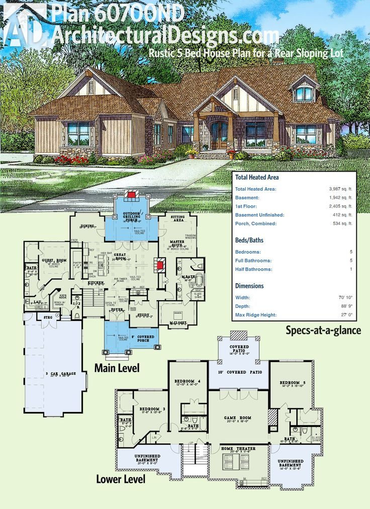 architectural designs rustic house plan 60700nd gives you 2 beds on the main level and 3 - Rustic House Plans 2