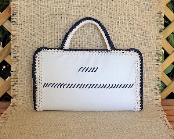 White summer handbag Navy clutch bag Fashion nautical bag