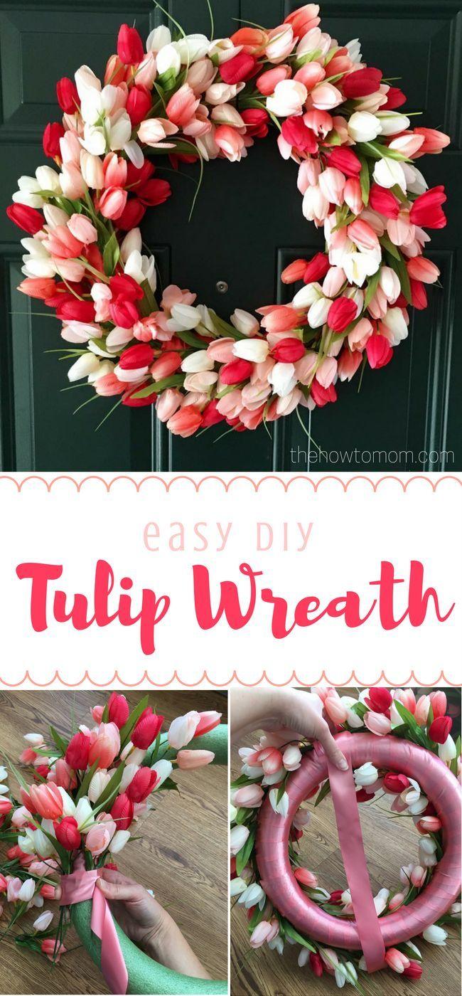 Easy DIY Tulip Wreath - Gorgeous spring wreath!