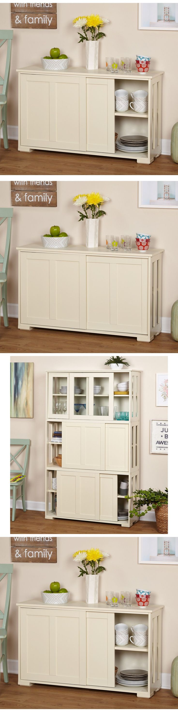 Sideboards and Buffets 183322: White Buffet Cabinet Storage Kitchen Sideboard Cupboard Dining China Hutch Room -> BUY IT NOW ONLY: $103.99 on eBay!