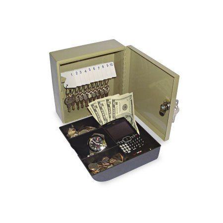 SecurIT Key Cabinet/Drawer Safe, 10-Key, Steel, Pebble Beige, 6 3/4 x 6 7/8 x 3