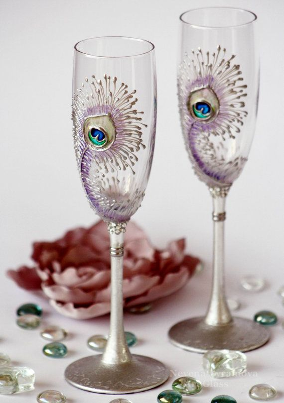 Peacock wedding flutes: Peacock Feathers, Peacocks, Wedding Ideas, Peacock Wedding, Wine Glass, Wedding Glasses, Champagne Flutes