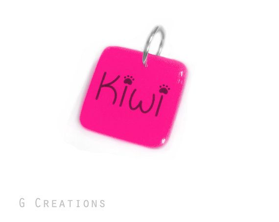 Square Dog ID Tag  GLOWING  Pink or Custom by GabriellesCreations