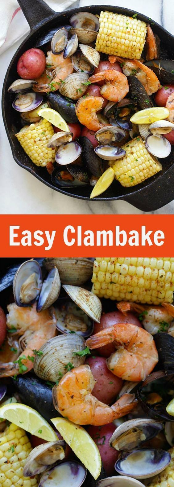 Clambake - the easiest and no-fuss clambake recipe ever, cooked on a stovetop with a skillet. Fresh, delicious and perfect for summer   http://rasamalaysia.com