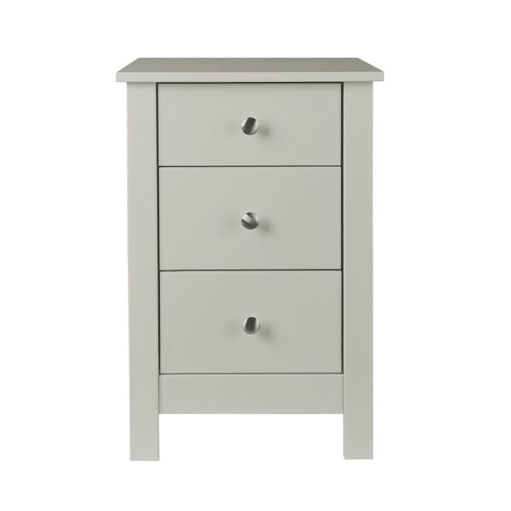 Florence 3 Drawer Bedside Table Cabinet Unit In Soft Grey Florence 3 drawer in Bedside in Soft Grey iis an elegantly designed storage solution from the Florence range of shaker style soft grey bedroom furniture.   It will comfortably hold a lamp, alarm clock and your favourite book or kindle on top and there's plenty more room in the three drawers.