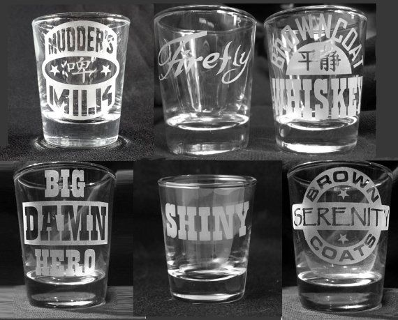 Firefly Etched Shot Glass Set by HeroGlass on Etsy