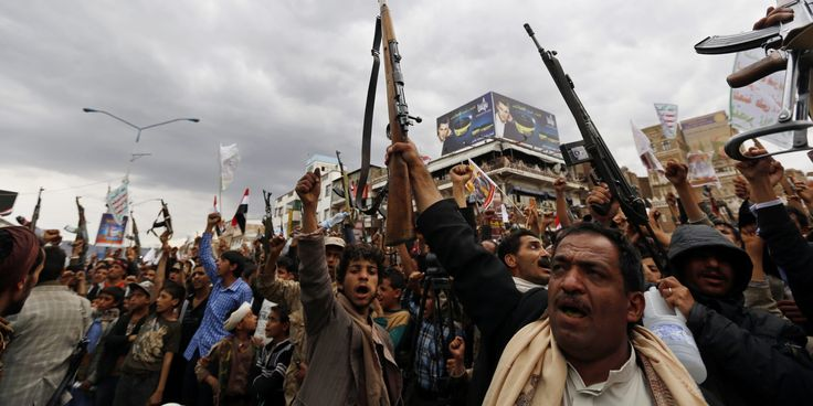 Armed Houthi members hold their guns in the air while shouting anti-Saudi slogans during a rally protesting Saudi-led airstrikes against Houthi positions in Sana'a, Yemen, 26 March 2015. According to reports several Arab states have joined Saudi-led air strikes against Houthi positions in the Yemeni capital leading to more than 20 civilian casualties and leaving over 50 wounded, a response justified by Houthi advances toward the southern Yemeni port city of Aden, where Abed Rabbo Man