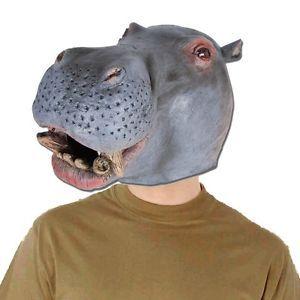 Latex Nilpferd Maske Hippopotamus Hippo Tiermaske Gummimaske Anonymous Kostü