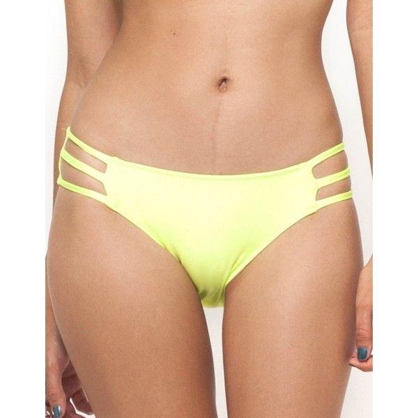 Motel Sunstone Cut Out Bikini Bottom in Yellow (20 CAD) ❤ liked on Polyvore featuring swimwear, bikinis, bikini bottoms, yellow, swim bikini bottoms, cutout bikini bottom, cut out bikini, cut out bikini bottoms and yellow bikini