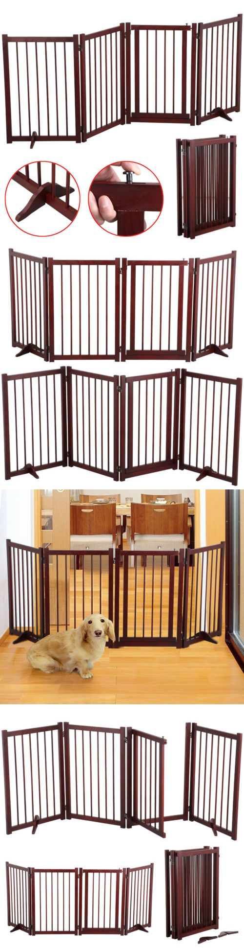 Fences and Exercise Pens 20748: Extra Wide Pet Gate Dog Walk Thru Freestanding Fence Playpen Indoor Wood Safety BUY IT NOW ONLY: $53.99
