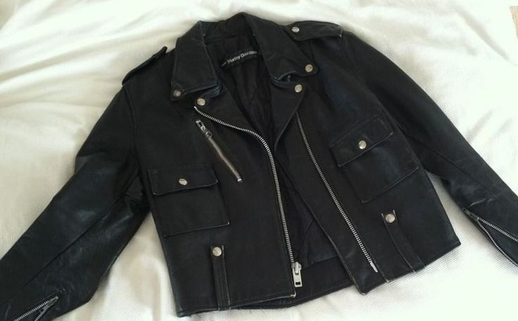 AMF Harley Davidson Black Leather Moto Jacket Size 38 Regular ~ Super Fashion!